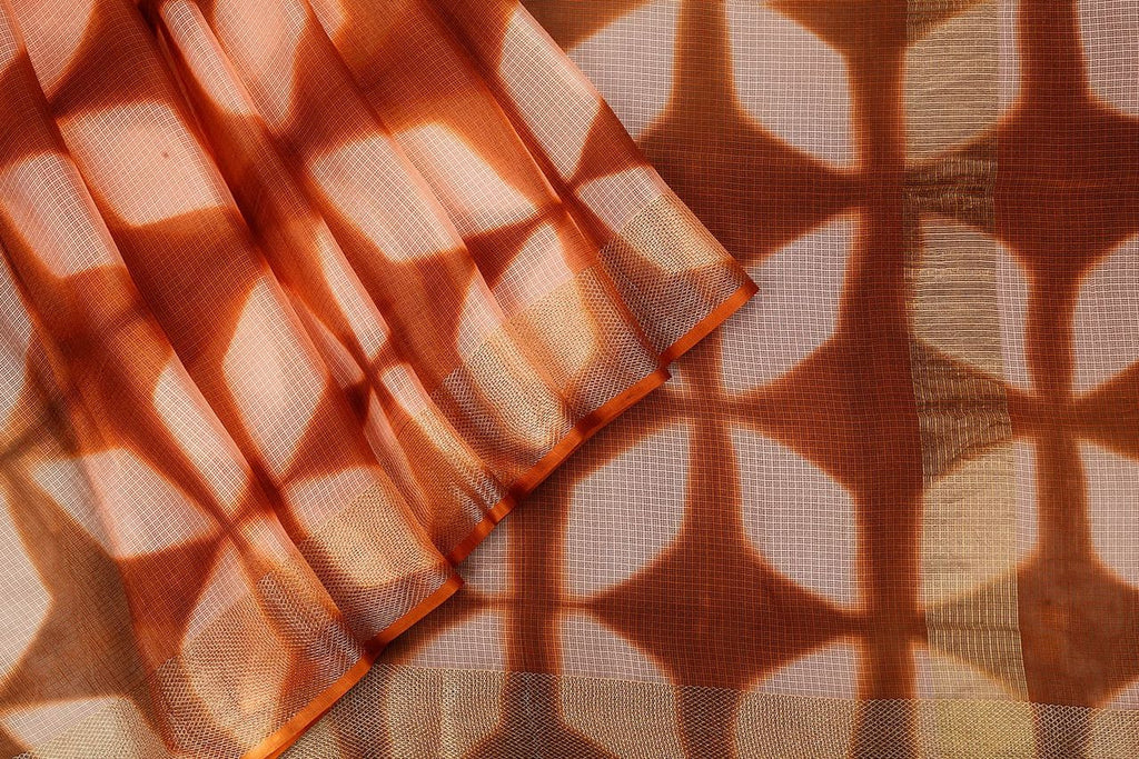 Handloom Silk Kota Saree With Weaving Border And Hand Print  In Brown
