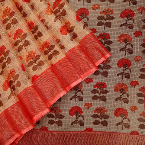 Handloom Silk Kota Saree With Weaving Border And Hand Print  In Cream