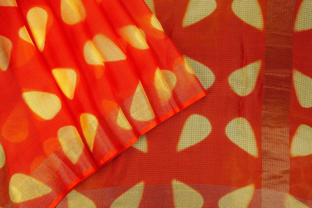 Handloom Silk Kota Saree with Weaving Border and Hand Print  in Orange
