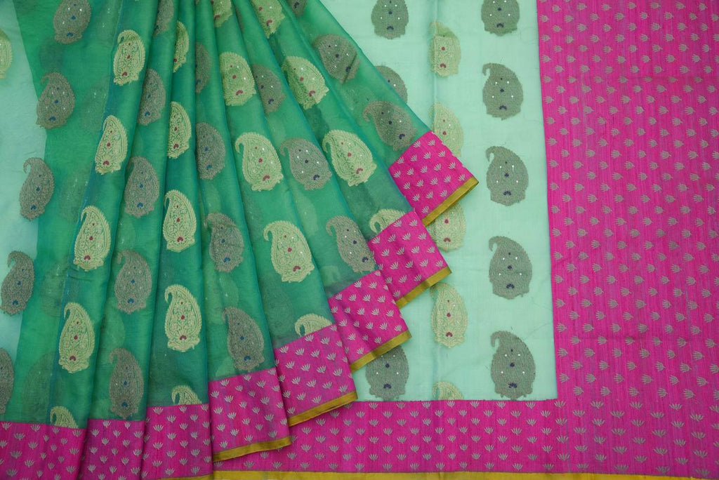 Banarasi Organza Silk Green Saree With Paisely Butta