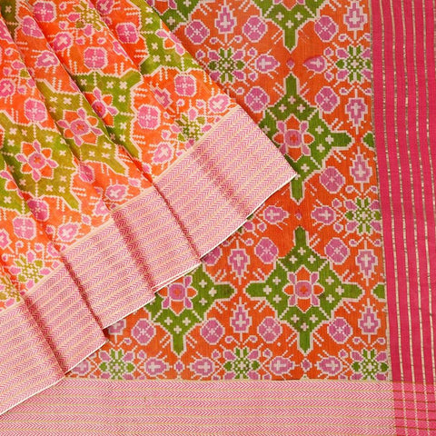 Handloom Maheshwari Silk Ikkat Printed Orange Saree