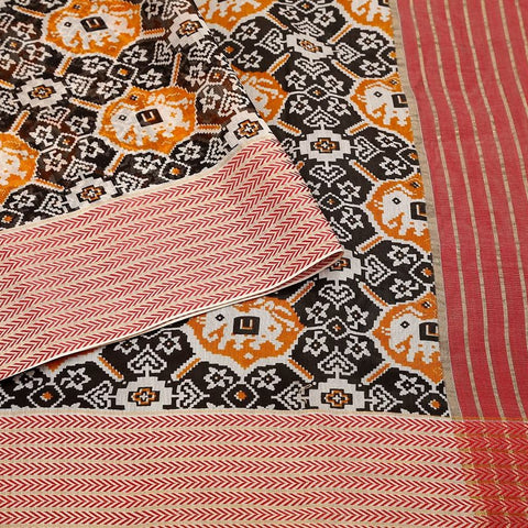 Handloom Maheshwari Silk Ikat Printed Saree  in Black and Orange