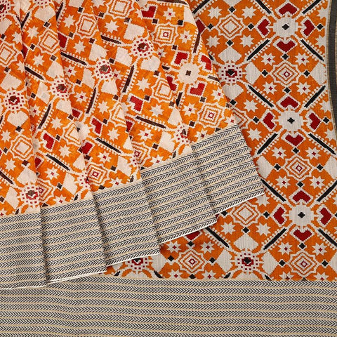 Handloom Maheshwari Silk Ikat Printed Saree  In Orange
