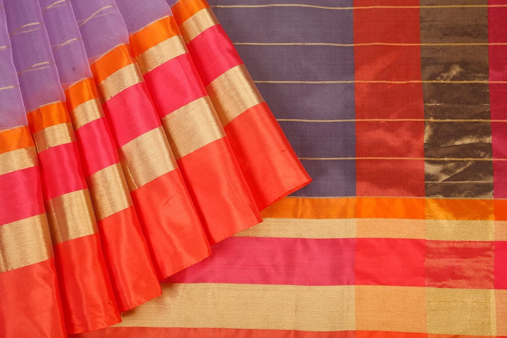 Handloom Organza Saree with Kutu Border in purple