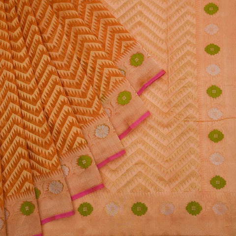Banarasi Organza Silk Orange Saree With Chevron