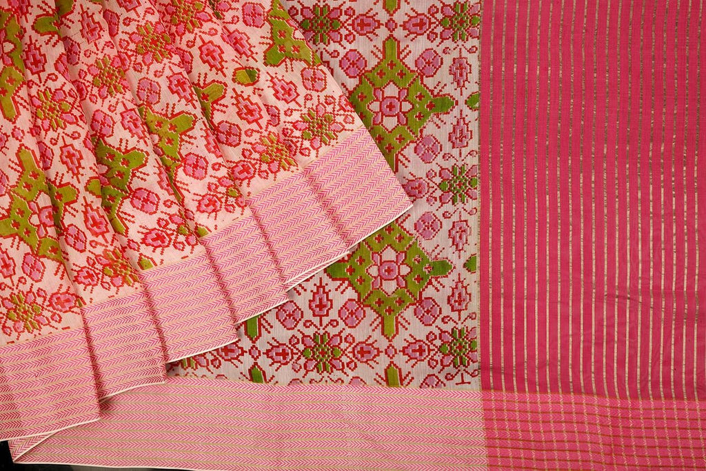 Handloom Maheshwari Silk Ikat Printed Saree  in Pink and Green