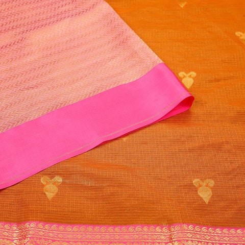 Handloom Silk Kota Saree with Kanjivaram Border  in Orange