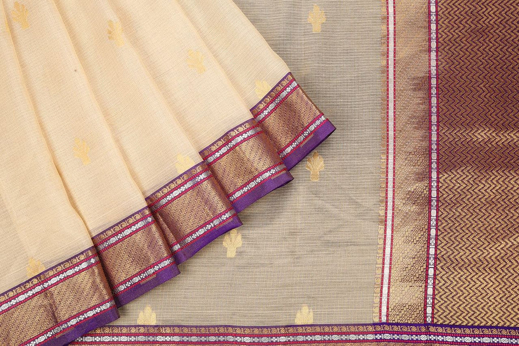 Handloom Silk Kota Saree with Kanjivaram Border  in Cream