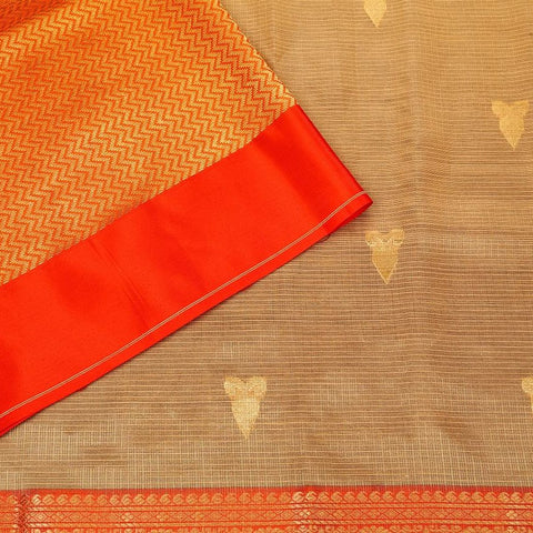 Handloom Silk Kota Saree with Kanjivaram Border  in Peach
