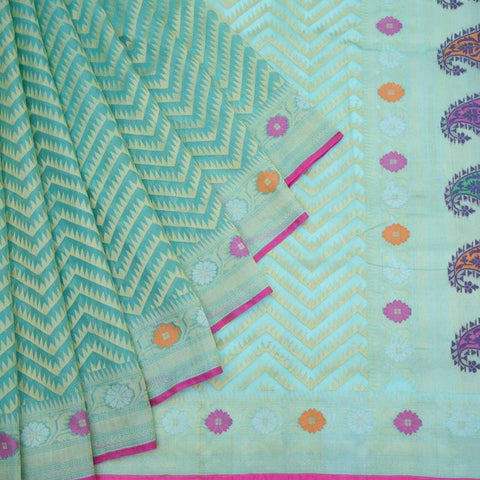 Banarasi Organza Silk Sky Blue Saree With Chevron