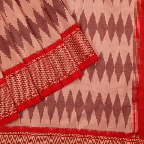 Handloom Kanjivaram Silk Ikat Saree  in Brown