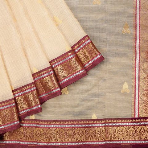 Handloom Silk Kota Saree with Kanjivaram Border  in Cream and Brown