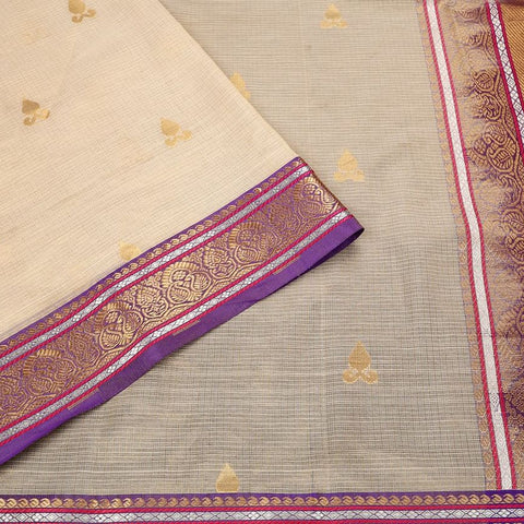 Handloom Silk Kota Saree with Kanjivaram Border  in Cream and Purple