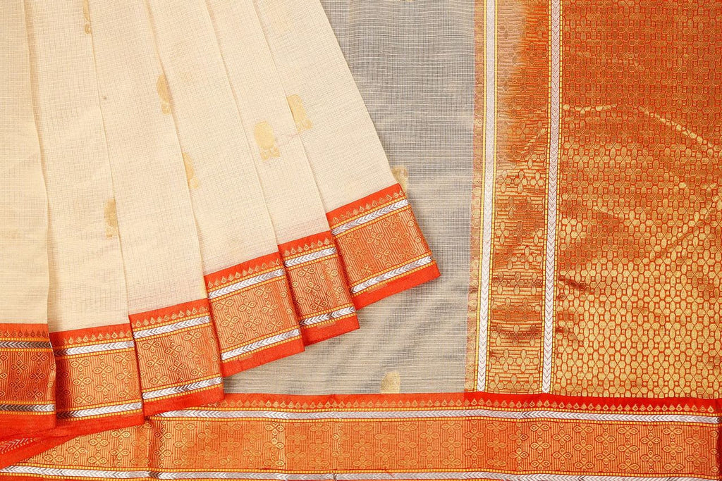 Handloom Silk Kota Saree With Kanjivaram Border  In Cream And Orange