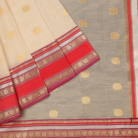 Handloom Silk Kota Saree with Kanjivaram Border  in Cream and Red