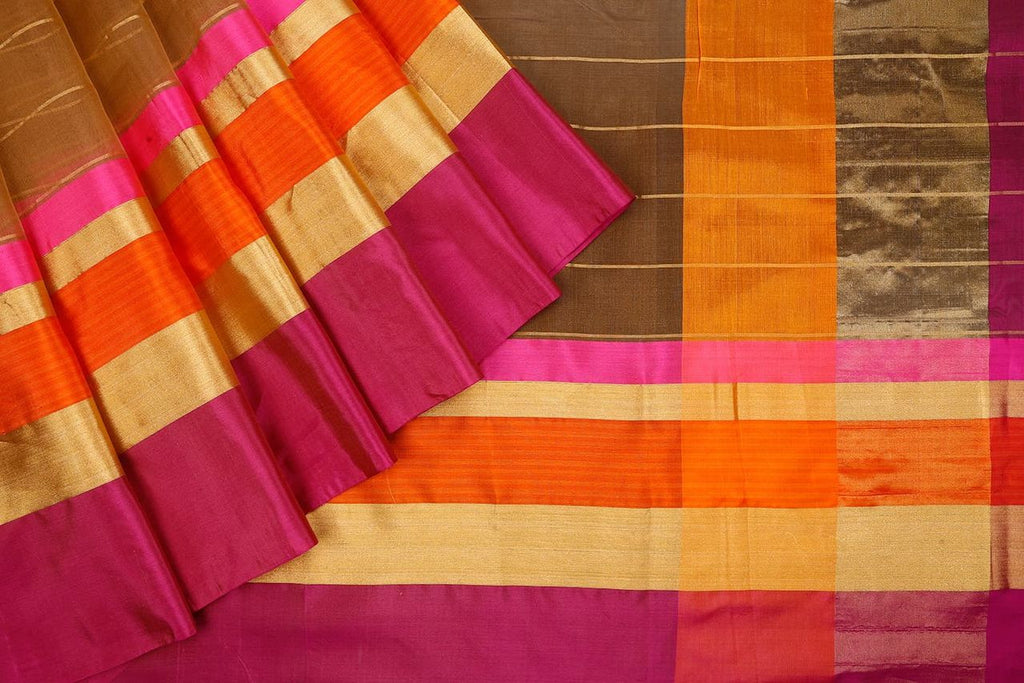 Handloom Organza Brown Saree With Kutu Border