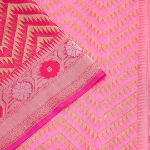 Banarasi Organza Silk Pink Saree With Chevon