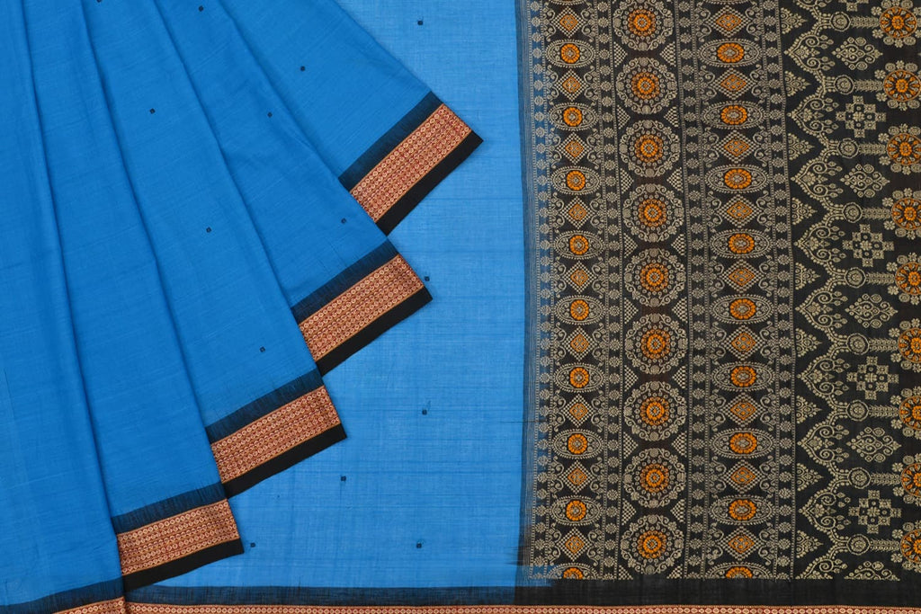 Sambalpuri Ikkat Cotton blue floral butti Work Saree