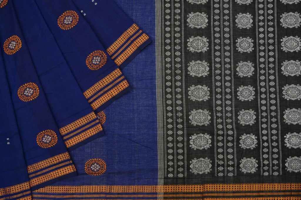 Bomkai Jaala Cotton blue floral butti Work Saree