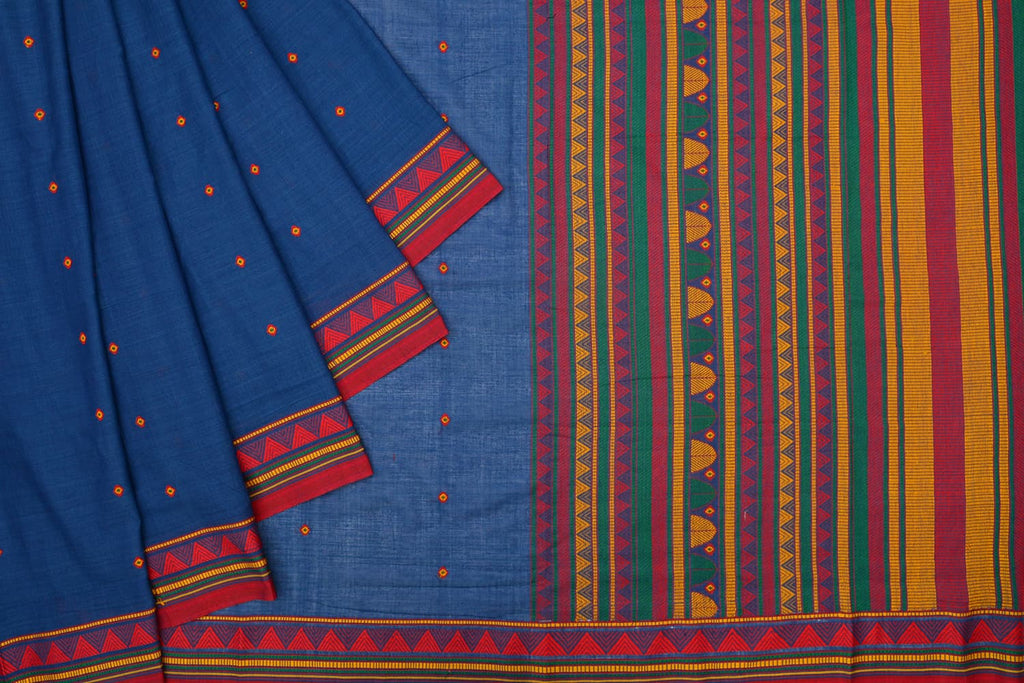 DONGRIA Cotton blue red and orange butti Work Saree