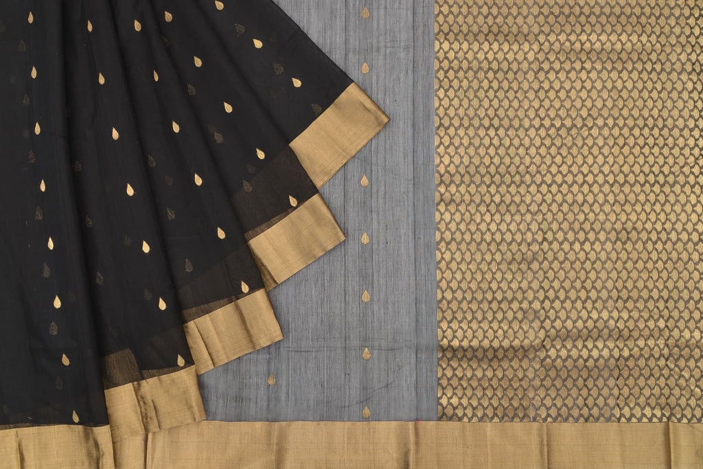 chanderi silk-cotton black saree with plain zari border