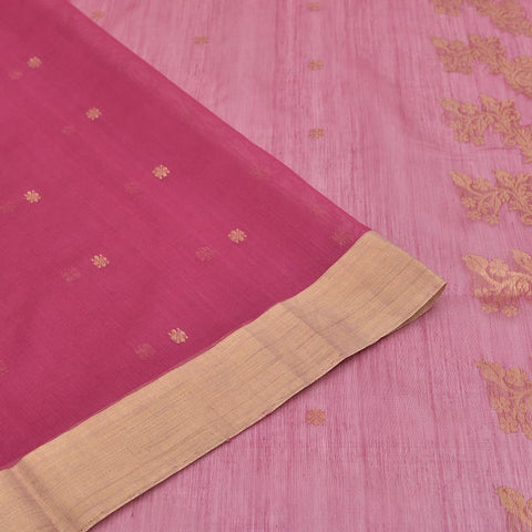 chanderi silk-cotton purple saree with plain zari border