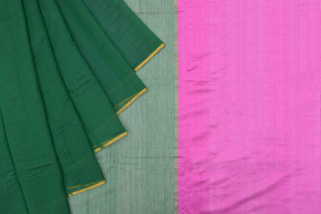 chanderi silk-cotton bottle green saree with thin yellow border