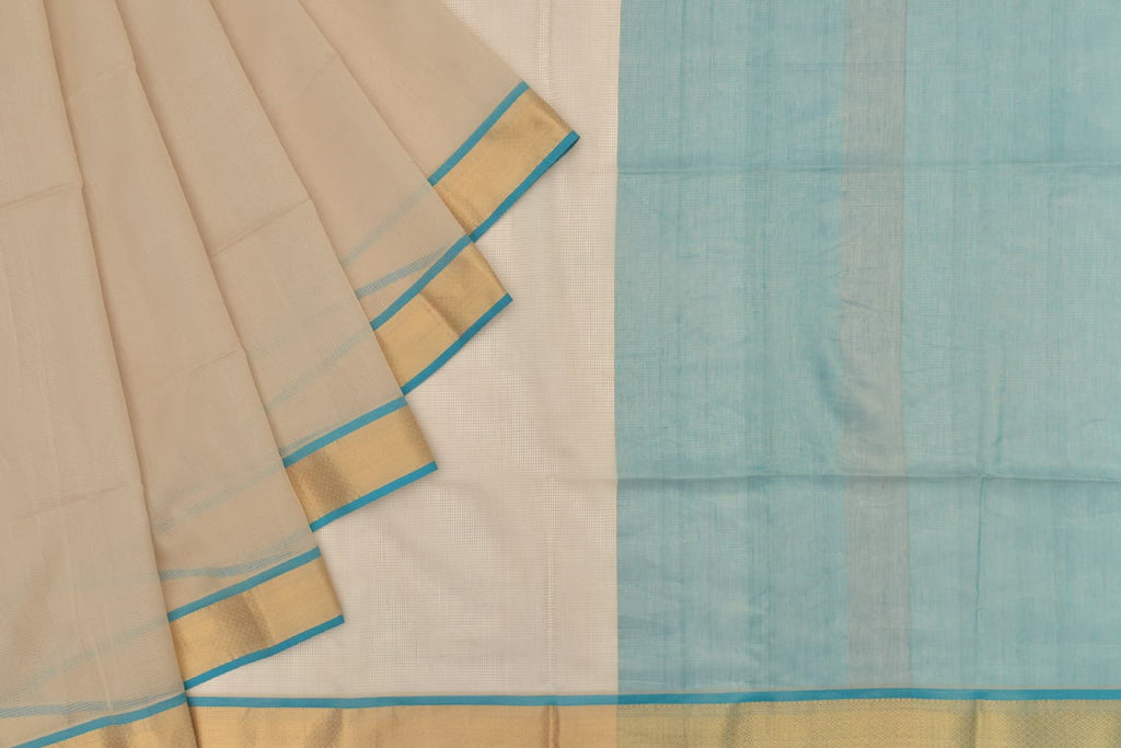 maheshwari silk beige saree with zari border with blue outline