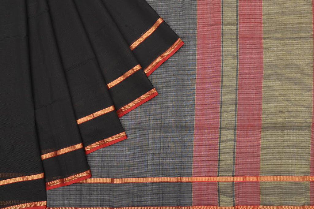 maheshwari silk black saree with zari stripes border