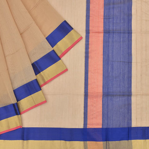 maheshwari silk cream saree with blue and zari border with red outline
