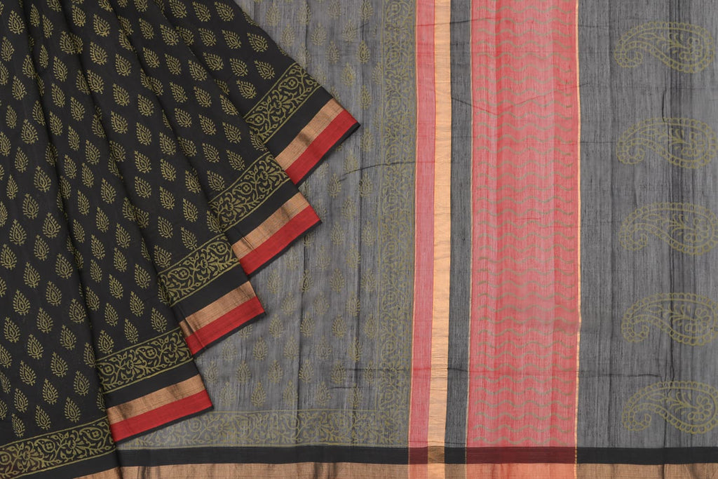maheshwari maheshwari Cotton black saree with tri color stripes border