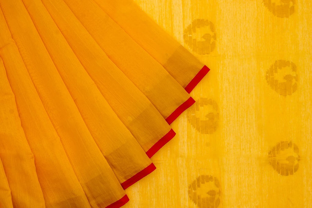 Bengal Khadi Yellow Jamdani Saree With Red With Zari Yellow Border