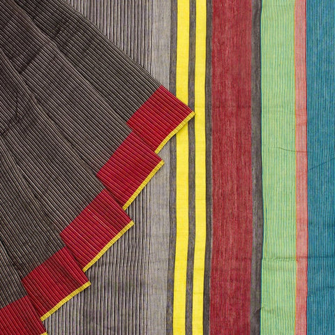 Bengal Khadi Multicolour Ikkat Saree with Yellow Red border