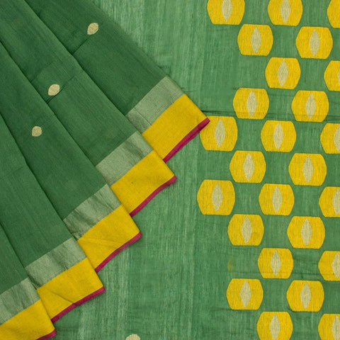 Bengal Khadi  Green  Jamdani Saree With Red  Green  Border