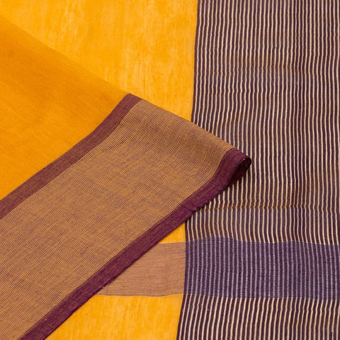 Bengal Khadi  Yellow Jamdani Saree With Purple With Golden Thread Purple Border