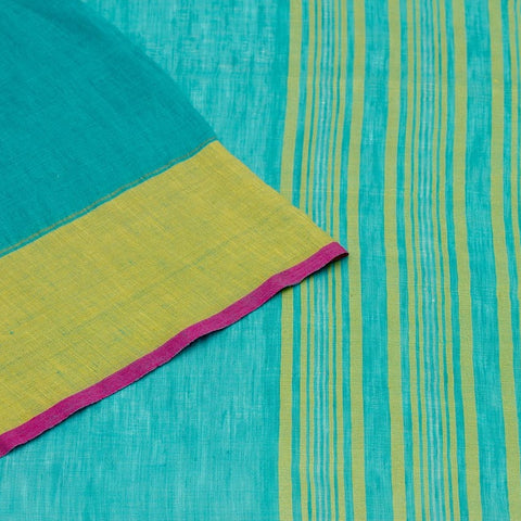 Bengal Khadi  Blue  Jamdani Saree With Pink And Yellow  Blue With Yellow Stripes Border