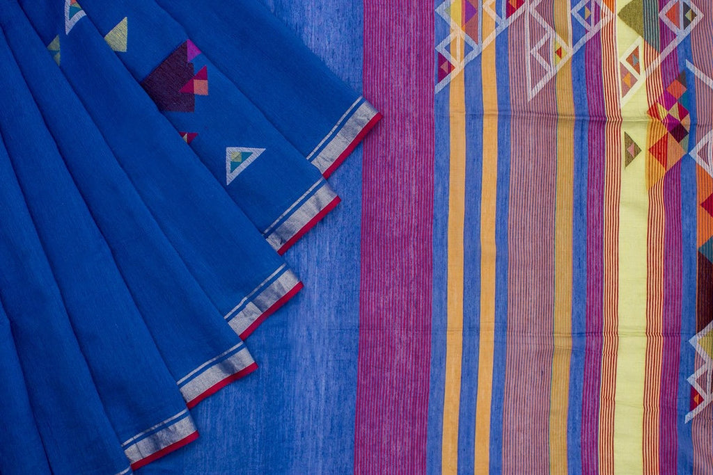 Bengal Khadi Blue  Jamdani Saree With Red  Multicolor  Border