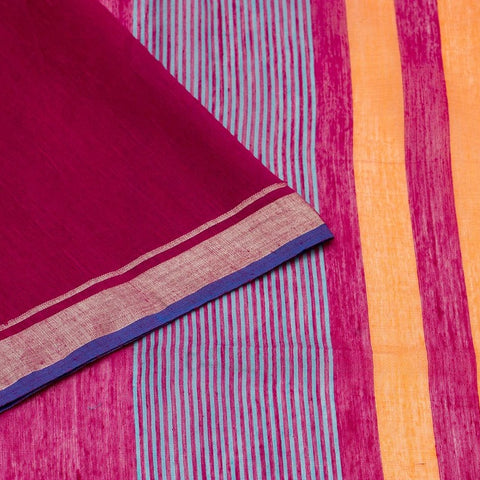Bengal Khadi Magenta Jamdani Saree With Pink Multicolour Border
