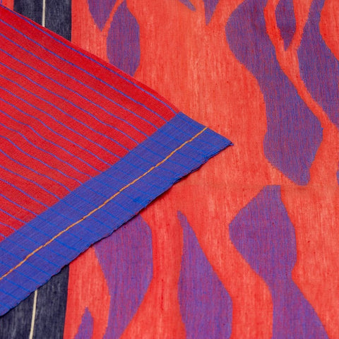 Bengal Cotton Red Jamdani Saree With Red And Blue Border