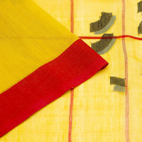Bengal Khadi  Yellow Jamdani Saree With Red Multicolor  Border