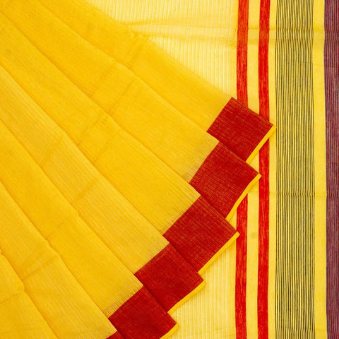 Bengal Khadi Yellow Jamdani Saree With Red Red And Green Border