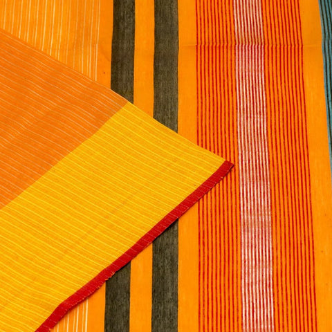 Bengal Khadi Orange Jamdani Saree With Yellow Green And Blue Border