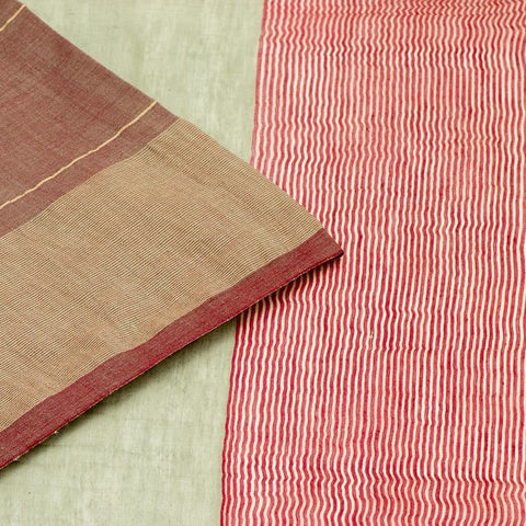 Bengal Khadi  Green  Jamdani Saree With Brown  Red Border