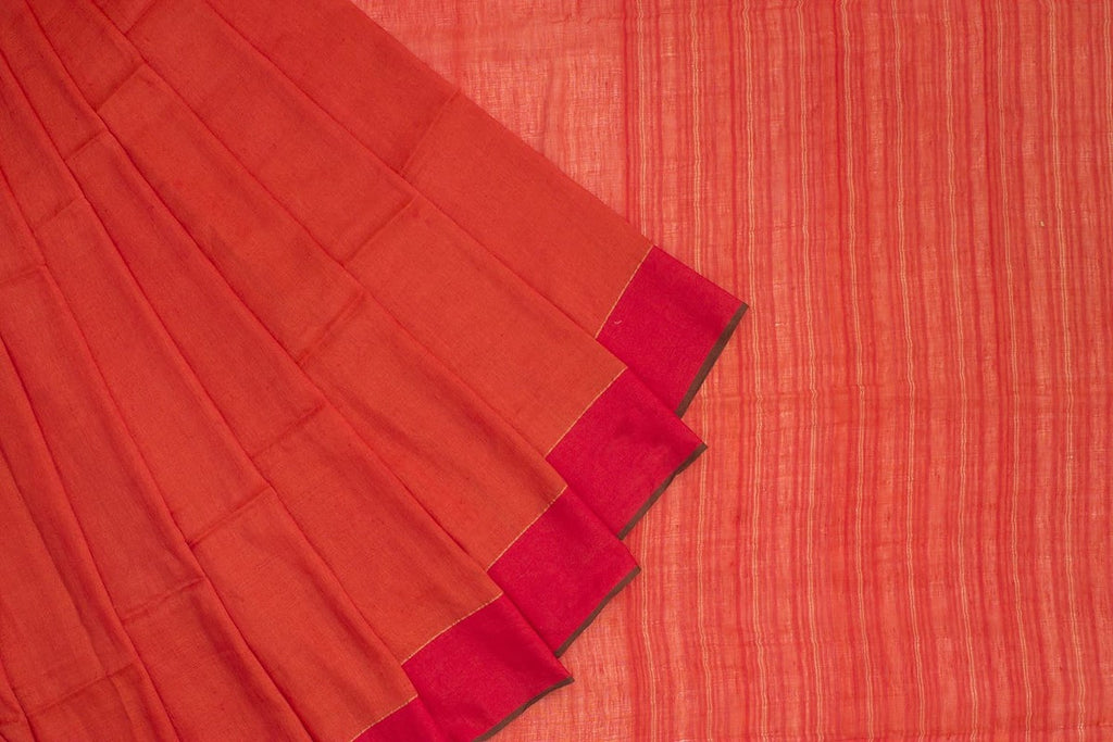 Bengal Khadi Orange Jamdani Saree with Red Orange with golden thread border
