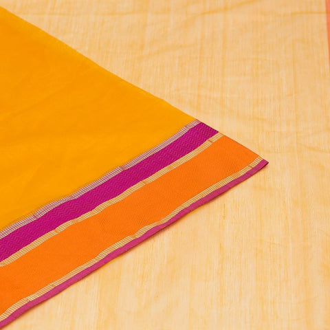 Maheshwari Cotton Silk Saree In Tamarind Yellow
