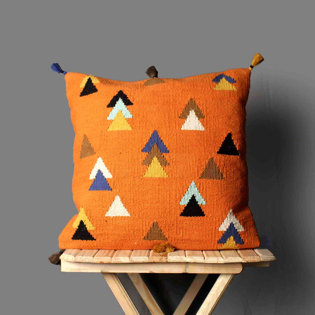 Hand Weave Orange Cushion Cover