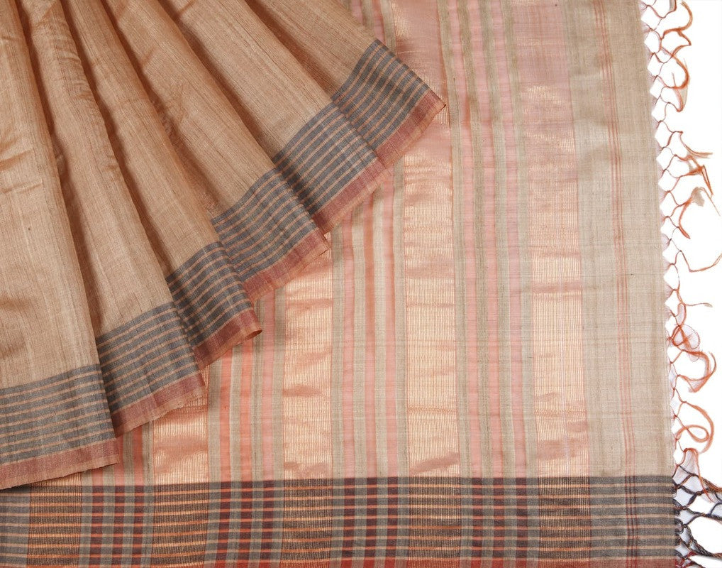 Bhagalpur Tussar Silk Saree In Brown