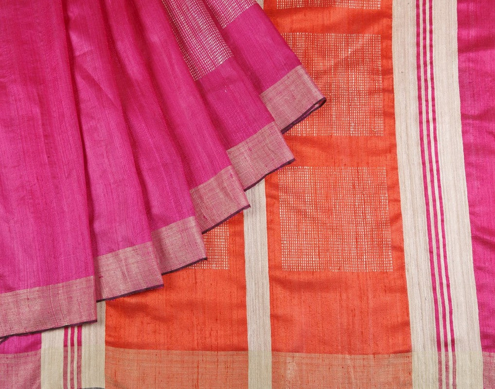Bhagalpur Dupion Silk Saree In Pink