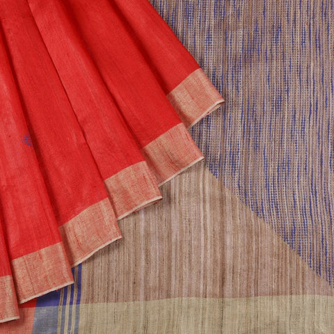 Bhagalpur Dupion Silk Saree In Red