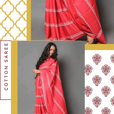 Hand Block Print Red Temple Border Cotton Saree